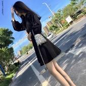 复古赫本小黑裙2019春夏新款连衣裙女高腰V领泡泡袖A字打底裙