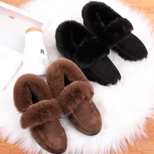 韩版女鞋休闲豆豆鞋秋冬平跟毛毛鞋加厚兔毛平底保暖加绒棉瓢鞋潮