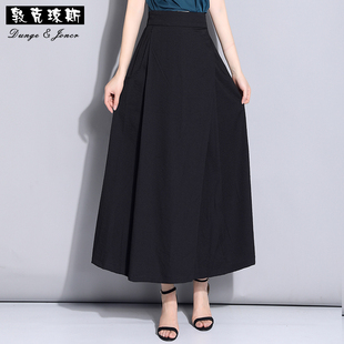 棉麻a字半身裙女夏季裙子显瘦休闲长裙高腰裙长款百褶半身长裙夏