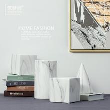 饰品样板房客厅 设计师款 北欧大理石纹陶瓷家居装 筑梦师 几何摆件