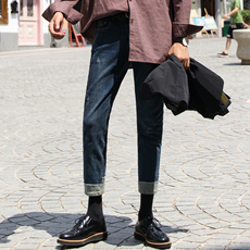 大赖自制/17AW 新款牛仔裤男修身九分裤拼接撞色刮破小脚休闲裤子
