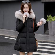 羽绒服女士新款韩国版狐狸大毛领修身显瘦中长款黑色加厚A版外套
