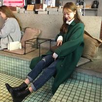 新款 直筒学生毛呢外套2017冬装 韩国版女装 宽松显瘦中长款 毛呢大衣