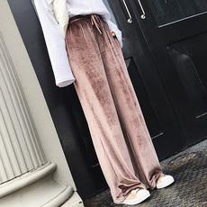 金丝绒阔腿裤女裤拖地长裤2017秋冬季新款休闲直筒运动裤宽松高腰