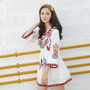 夏装民族风棉麻刺绣花连衣裙小个子巴厘岛度假裙海边沙滩显瘦短裙
