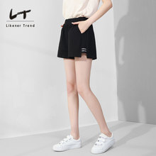 LT Sports Shorts Female 2019 New Summer High waist, Large Size, Loose Legs, Hot Pants, Leisure Running in Black