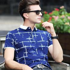 衣服男短袖t恤男士翻领丝光棉polo衫休闲男装修身半袖大码体恤