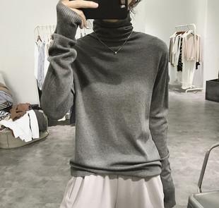 2019新款秋冬季基础简约高领针织衫可外穿宽松显瘦长袖打底毛衣女