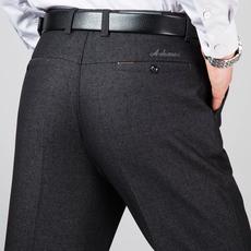 中年男士休闲裤中老年男裤高腰秋冬厚款宽松直筒西裤爸爸装长裤子