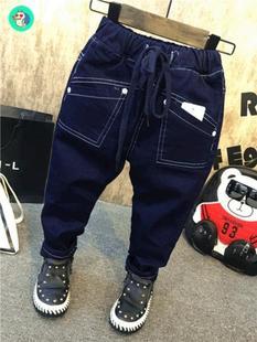 男宝加绒裤子1-3儿童潮裤6岁男童加厚保暖黑蓝色牛仔长裤秋冬新