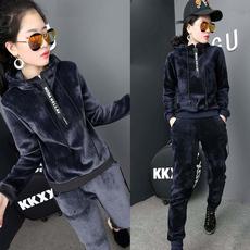 韩国代购冬装字母拉链两件套孕妇卫衣运动托腹裤加绒加厚孕妇套装