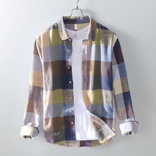 亚麻衬衫男长袖格格小清新棉麻衬衣格子日系复古休闲夏季防晒外套