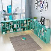 简约现代学生书架客厅置物架儿童落地简易书橱书柜组合桌面收纳架