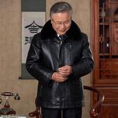 老人皮衣服60-70岁中老年人80男装PU皮棉袄可脱卸胆爷爷冬季皮衣