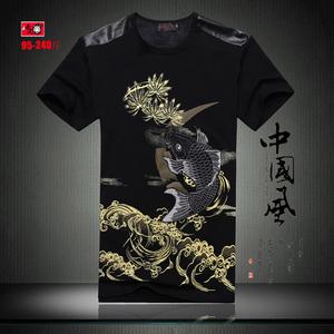 中国风有鲤鱼刺绣T恤男士印花短袖夏季<span class=H>男装</span>大码潮胖半袖纯棉体桖