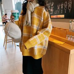 加肥加大码女冬新款胖mm200斤宽松慵懒风复古长袖格子毛衣女学生