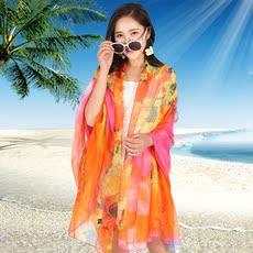 2017夏季中国风丝巾女士长款超大雪纺防晒印花沙滩巾海边披肩薄款