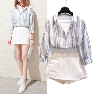 2018春装新款韩范衬衣假两件条纹宽松大码上衣棉麻时尚衬衫女外套衬衫