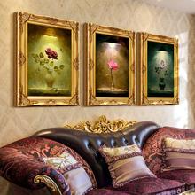 欧式花卉玫瑰 手绘油画家居客厅有框三联装饰画餐厅玄关壁画挂画