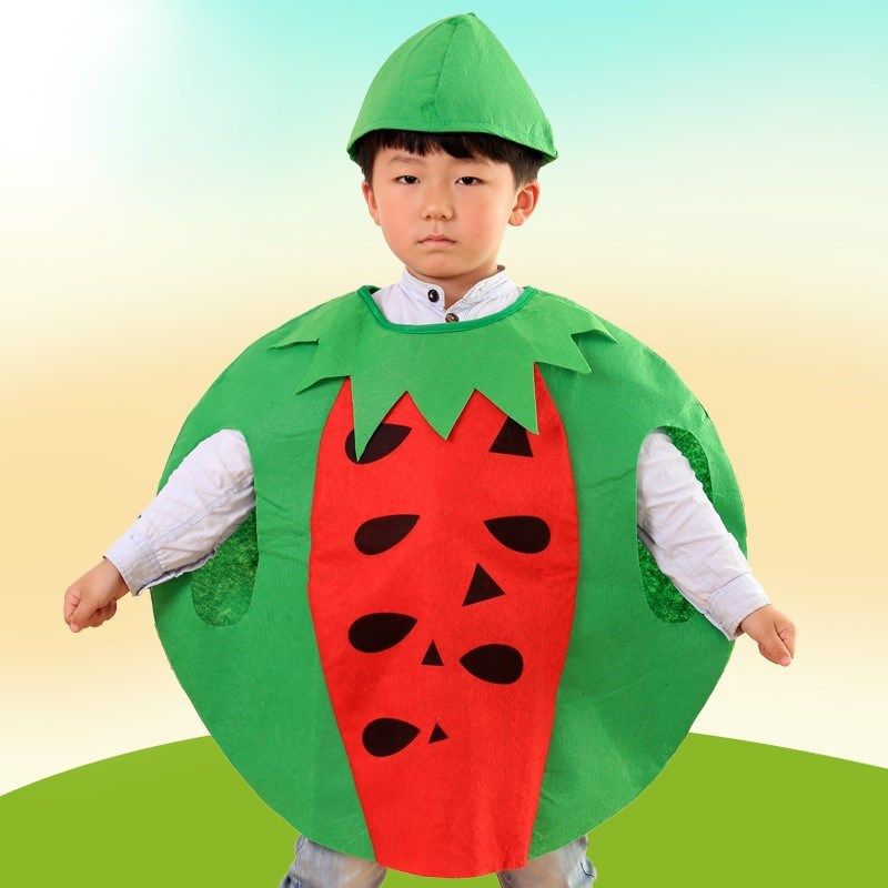 幼儿园手工制作环保衣服走秀亲子装废物利用大人儿童蔬菜水果装扮