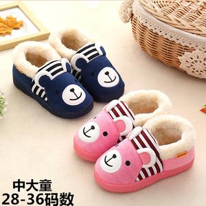 冬季儿童棉拖鞋包跟男女童防滑保暖地板中大童毛拖鞋可爱卡通居家儿童棉拖鞋
