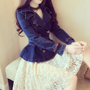 韩版东大门春季时尚翻领收腰双排扣皮带扣装饰水洗百搭牛仔外套女