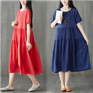 短袖连衣裙女夏季新款民族风女装宽松大码拼接棉麻大摆显瘦中长裙