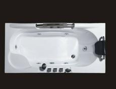 1.7米长方形单人亚克力冲浪按摩浴缸白色浴盆厂家可装恒温