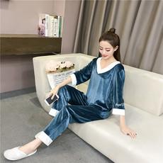 韩国睡衣女冬金丝绒甜美可爱秋冬款套头套装法兰绒可外穿家居服女