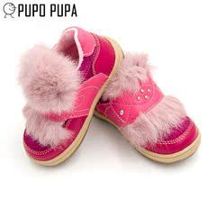 儿童皮鞋加绒真皮防滑0-4岁公主鞋牛筋底一脚蹬小孩皮鞋稳步棉鞋