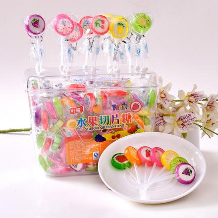 叶盛盒装水果切片棒棒糖糖果120支