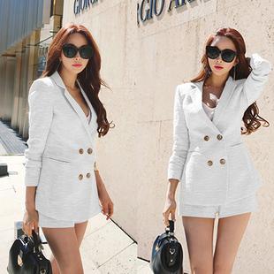 时尚套装2017夏季新款女装气质短裤两件套显瘦韩版棉麻职业西装潮
