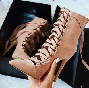 High Heels Lace Up thin Heel Ankle Boots Sandals for Women