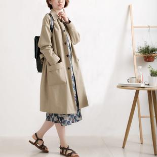 从前慢自制复古大码宽松全棉休闲风衣女中长款新款秋季装外套大衣