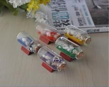 饰品摆件 漂流瓶工艺品装 创意家居 地中海风格 彩沙许愿瓶 迷你船