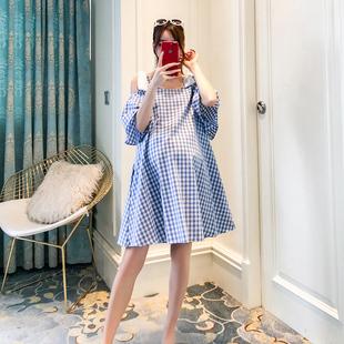 孕妇棉麻连衣裙夏装时尚款2018新款韩版格子背带裙中长款潮妈裙夏
