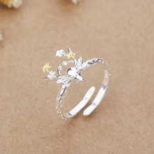 S925 Sterling Silver moron antler ring, Japan and South Korea fashion temperament milu deer ring, tide people open the tail ring single gift.