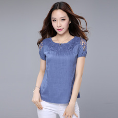 中年妇女夏装30-40-50岁棉麻亚麻女装宽松大码妈妈装短袖T恤上衣