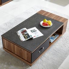 现代简约火烧石创意茶几伸缩电视柜组合北欧大理石多功能木纹套装