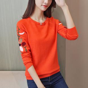 毛衫女2019春装新款女装韩版套头圆领长袖毛衣针织衫女绣花打底衫