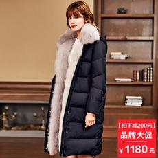 Firetrap2017欧洲站女装新款狐狸大毛领羽绒服冬季加厚长款外套女