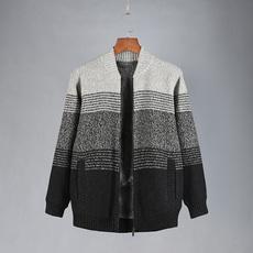 大码加绒毛衣男款棒球针织夹克加肥加厚冬季外套青年胖人毛衣开衫