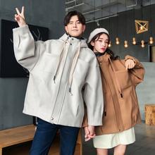 主恋秋季超火不一样的情侣装2018新款韩版宽松连帽夹克男女短外套