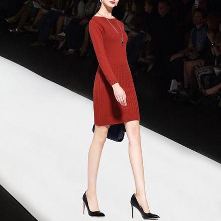 2017冬季新款女装针织连衣裙女秋冬长袖毛衣裙中长款修身打底裙子