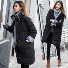 棉服女中长款外套软妹学生过膝棉袄百搭面包服韩版宽松bf冬季棉衣