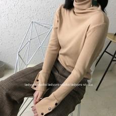 韩国订单复古风chic纯色小高领针织衫修身套头长袖百搭打底衫女