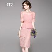 气质修身 DTZ女装 蕾丝连衣裙夏季新款 温柔风粉色吊带裙中裙两件套