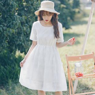 白色棉麻连衣裙女夏学生短袖森女系文艺小清新小个子少女心仙女裙