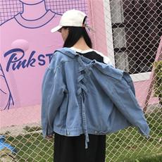 秋季新款韩版宽松学生短款牛仔衣后背系带牛仔外套女bf夹克上衣潮