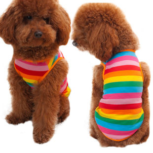 High Quality Blending Spinning dog Striped summer vest pet c